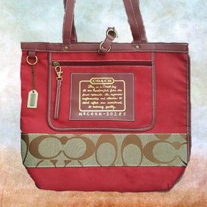 Carefully Hand Stitched Red Coach Totebag